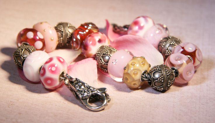 Artisan Lampwork beads for Trollbeads Anne Meiborg - Pink bead set www.annemeiborg.etsy.com