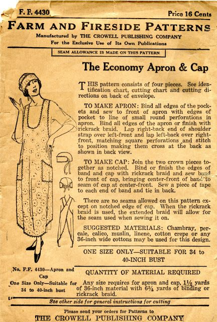Unsung Sewing Patterns: Farm and Fireside 4430 - Economy Apron & Cap