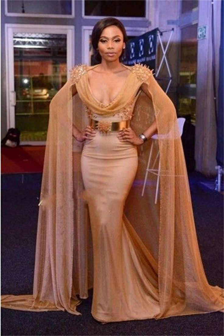 Celebrity Red Carpet Dresses With Cape Beads Sequins Sparkling Mermaid Prom Dresses Scoop Arabic Dresses Evening Wear Formal Dress Shop Full Length Evening Dresses From Click_me, $131.78| Dhgate.Com