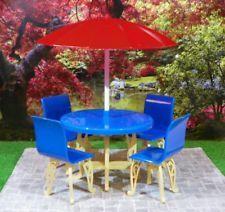 Excellent! Plasco PATIO TABLE UMBRELLA Vintage Dollhouse Furniture Ideal Renwal