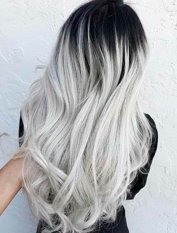 silver w black roots