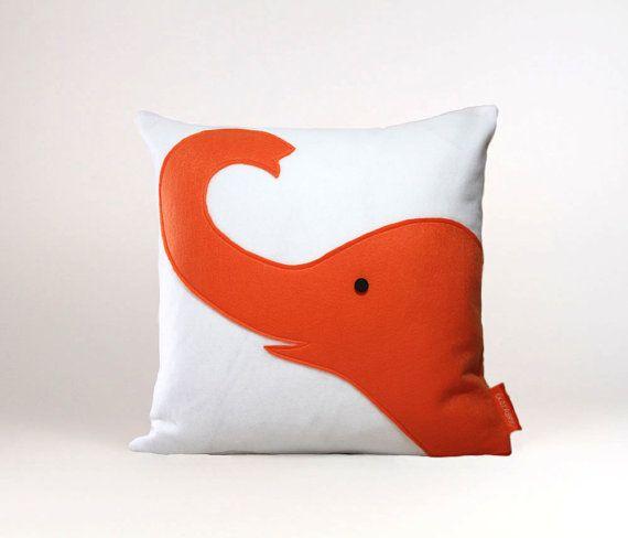 orange elephant pillow