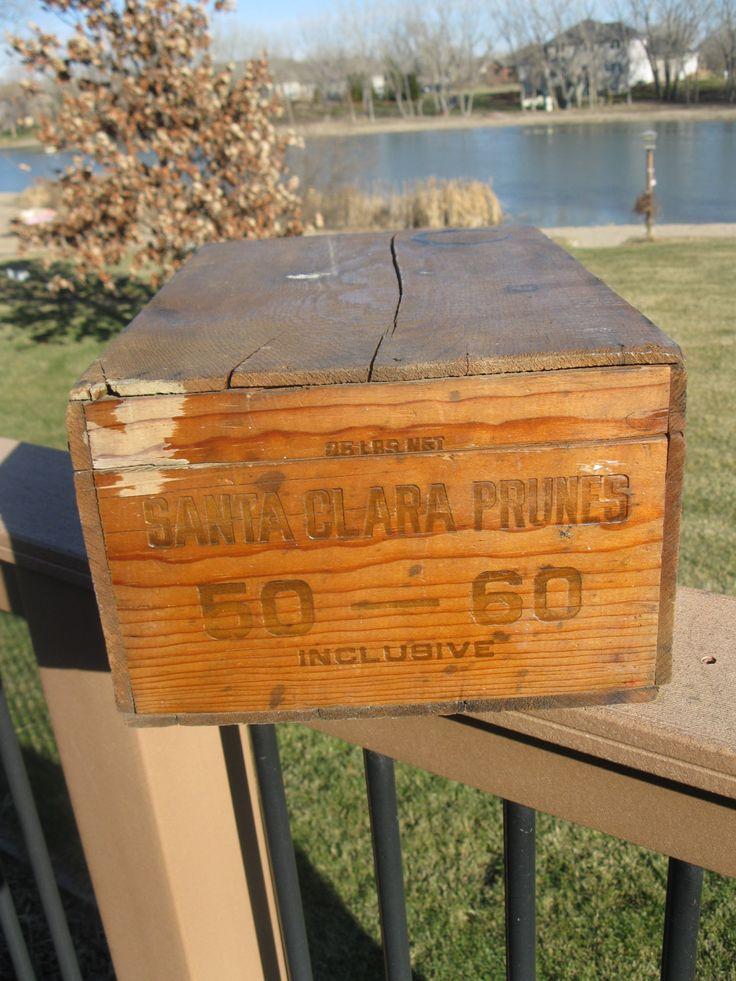 Primitive Wood Storage Box With Lid-Prune Box- Maxie Cobb- Santa Clara- Storage- hinged- Tool Box- Rustic box- Garage Storage- mid century by oakiesclaptrap on Etsy
