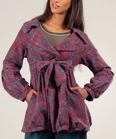 Look at this #zulilyfind! Red & Green Morgane Coat #zulilyfinds