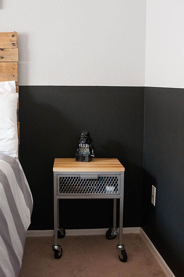 All for the Boys - Tween Boy Room half black wall with pallet headboard