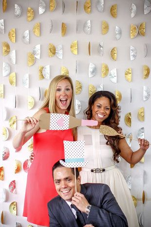 Bridal shower decorations - DIY bridal shower photo booth - cupcake tin garland