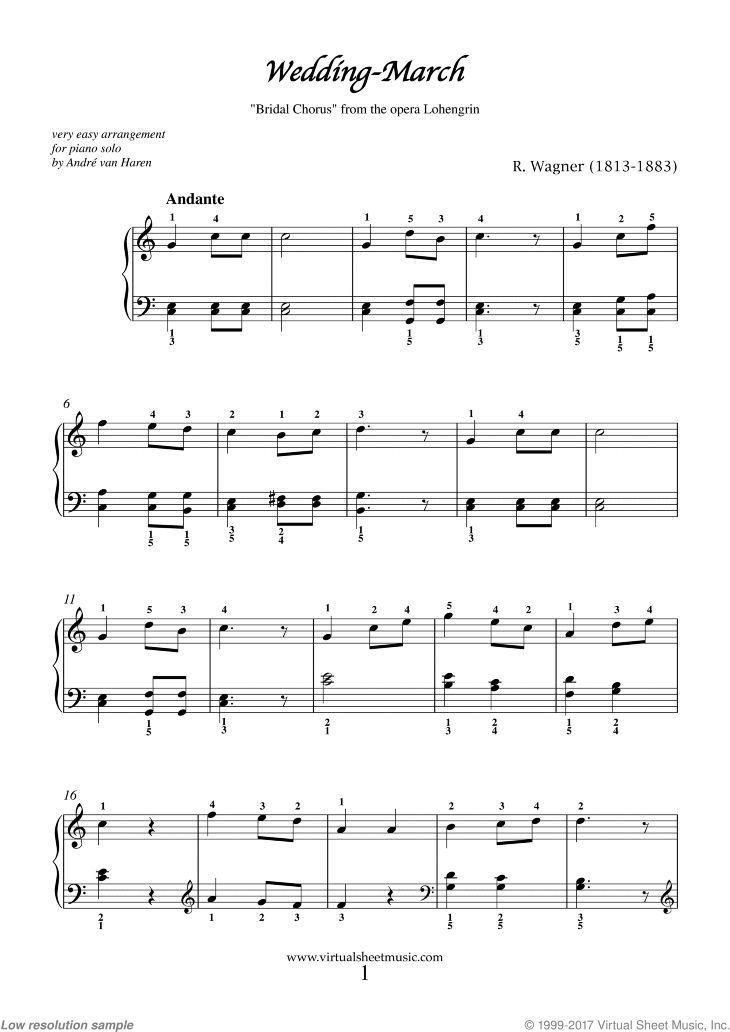 Wagner Wedding March Bridal Chorus Sheet Music For Piano Solo In 2020 Piano Sheet Music Wedding March Music Sheet Music
