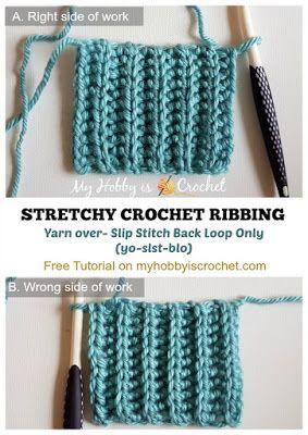 Faux Knit) Crochet Ribbing Tutorial on myhobbyiscrochet.com  Yarn Over Slip Stitch Back Loops Only (yo-slst-blo)