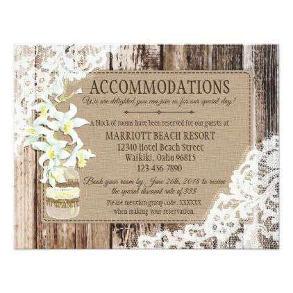 Rustic Orchid Wood Lace Accommodations Card - wood wedding style nature diy customize personalize marriage