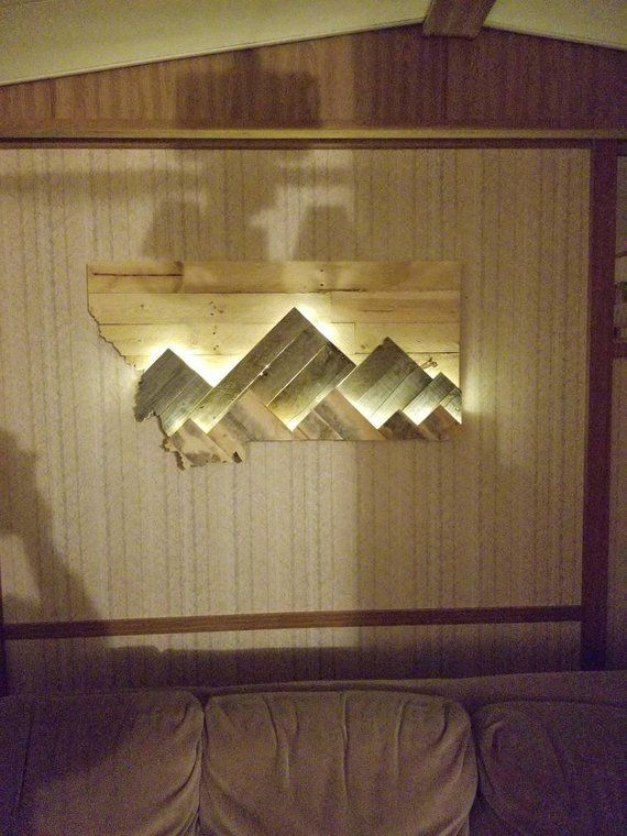 Montana Silhouette With Backlit Mountains Wall Art Diy Easy Mountain Wood Art