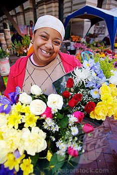 Flower Seller with Colourful Flowers in Her Hand Cape Town, Western Cape Province, South Africa. Via  pinterest.com/hidamarik/flowers-for-sale/