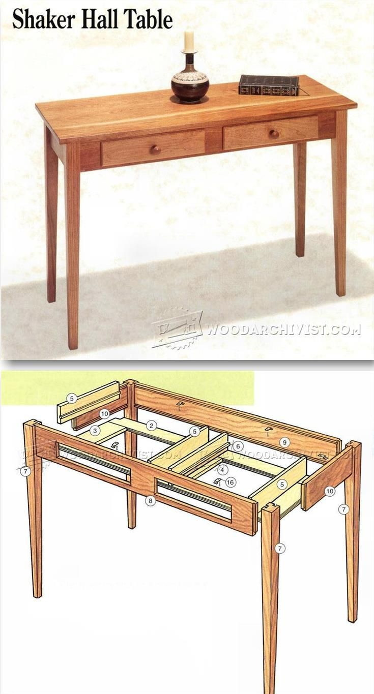 Mission style furniture plans - Shaker Hall Table Plans Furniture Plans And Projects Woodarchivist Com