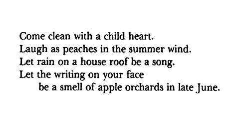 """""""Come clean with a child heart Laugh as peaches in the summer wind Let rain on a house roof be a song Let the writing on your face be a smell of apple orchards on late June."""" — Carl Sandburg, Honey and Salt"""