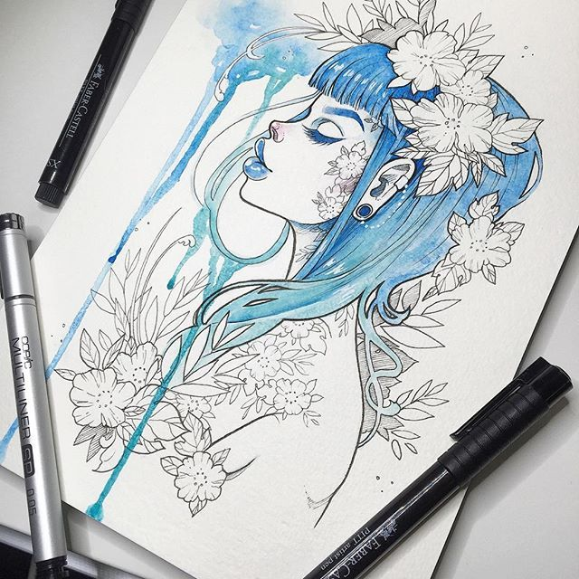 Female elf character ink illustration by Gwen D'Arcy