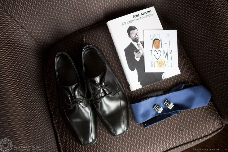"""Groom's details at this Scarborough Bluffs Wedding: Shoes, cufflinks, tie, """"Modern Love"""" by Aziz Ansari (gift from the bride) and the card, """"You're the Jay-Z to my Beyoncé"""". #sweetheartempirephotography"""