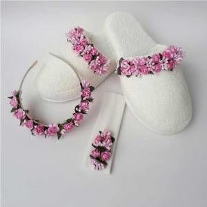 Pembe çiçekli Lohusa Seti Lohusa Tacı- Terliği Bebek Bandanası Hastane Odası Doğum çantası GittiGidiyor'da 289372193