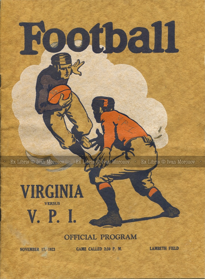1923.11.17. Virginia Tech (Hokies) at University of Virginia (Cavaliers). Vintage football game program.