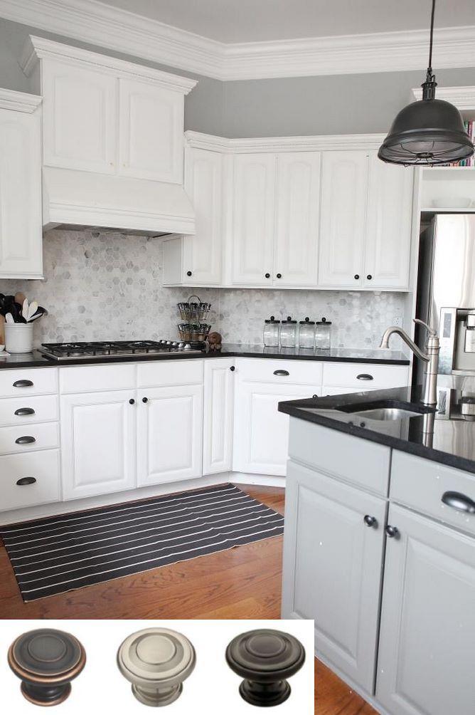 Dark granite countertops and navy blue kitchen cabinets ...