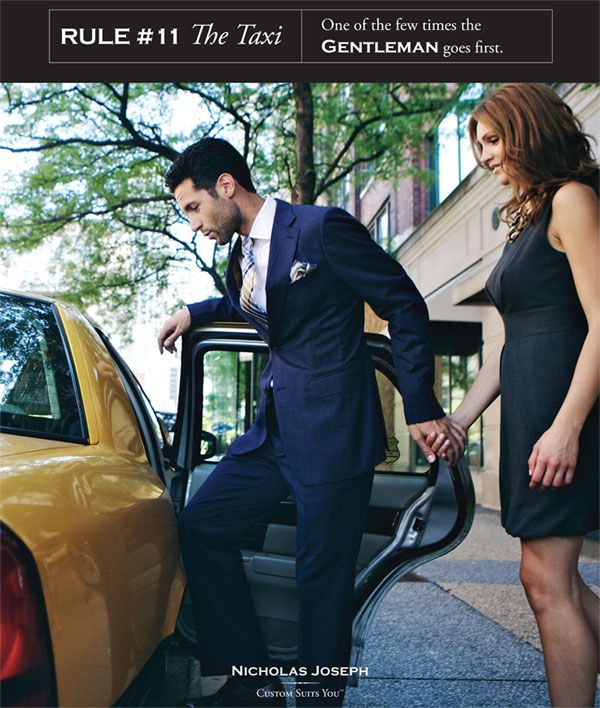 Gentleman's Rules l #11 The taxi l One of the rare times a gentleman goes first l Nicholas Joseph Custom Tailors l www.customsuitsyou.com l Chicago, IL l USA