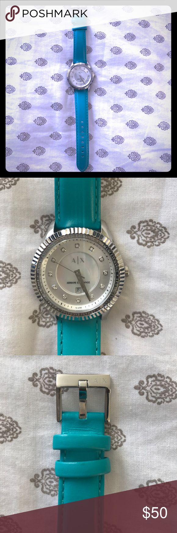 Armani Exchange Watch Armani Exchange Watch. Turquoise Color. Worn only twice. Minor stain inside the band of Watch. Looks like new! A/X Armani Exchange Accessories Watches