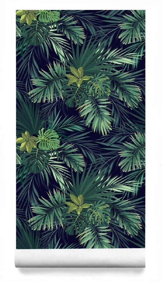 Tropical Palm Wallpaper Dark Leaf Wall Mural Removable Etsy Fond D Ecran Tropical Papier Peint Jungle Papier Peint