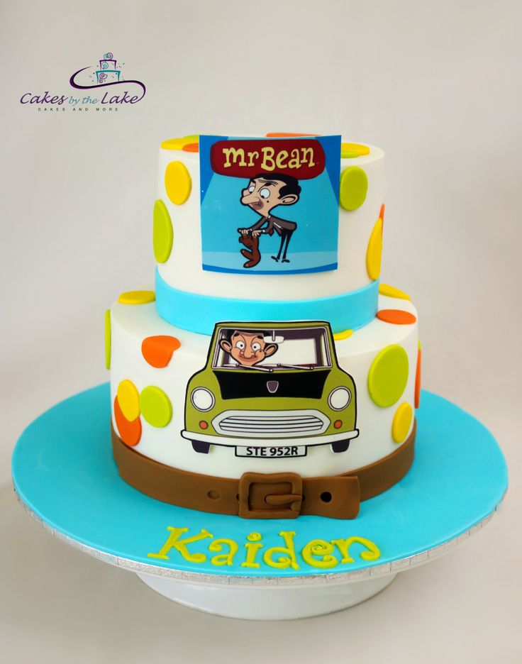 MR BEAN CAKE  He's funny and quirky and this time Mr Bean appears on this two tiered cake for a special young man's birthday. It consisted of a chocolate mud cake on the bottom tier and a caramel mud cake on the top tier. Both cakes are then finished in fondant and edible images  www.cakesbythelake.com.au www.instagram.com/cakes_by_the_lake