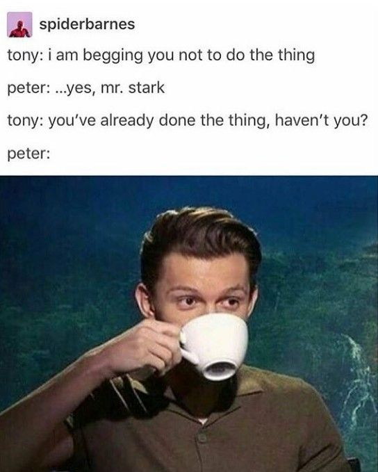 Ironically, this is more or less how the other Avengers treat Tony. Clearly he was meant to be Peter's mentor.
