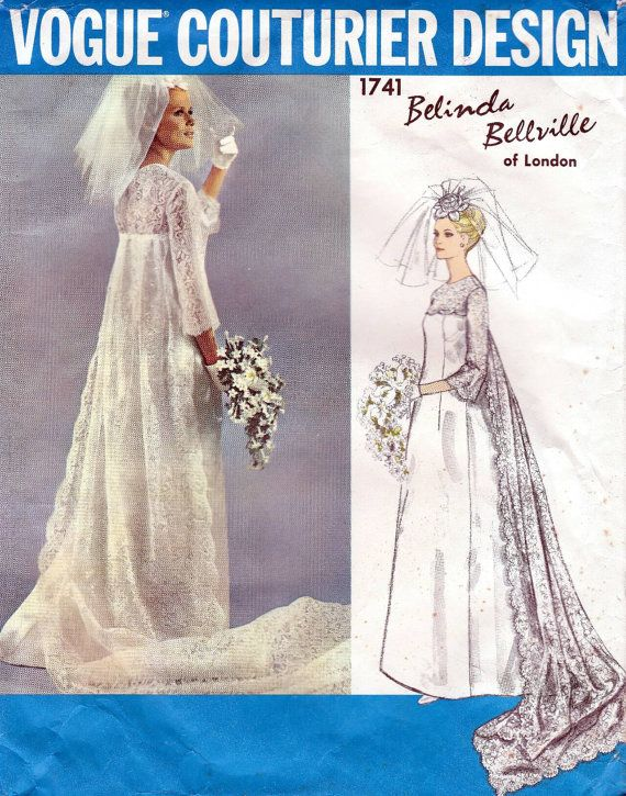 Wedding dress pattern, Vogue Couturier Design bridal dress, vintage sewing pattern 1741, 1960s Bust 32 inches,bridal gown with train, Belinda Bellville.