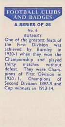 1958 Football Clubs and Badges #6 Burnley Back