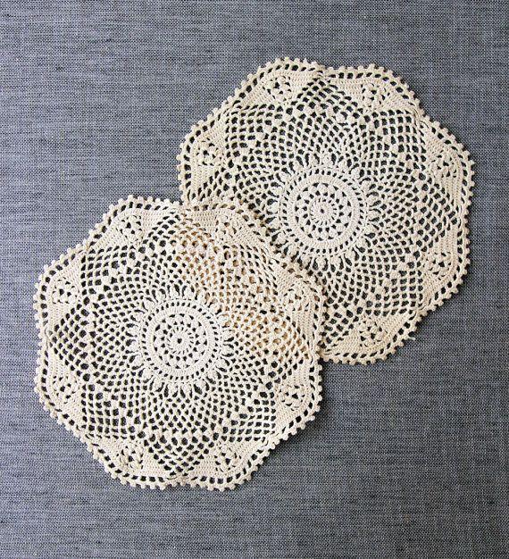 Vintage Crochet Doilies 2 handmade ecru cotton at MrsBathsDrawers