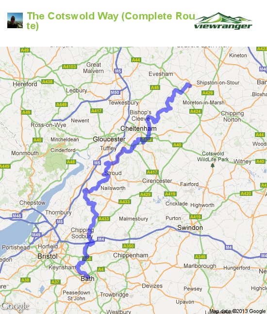 Hiking trail map. The Cotswold Way (Complete Route).  The Cotswold Way is a 102-mile (164 km) long-distance footpath, running along the Cotswold Edge escarpment of the Cotswold Hills in England. This is a complete route, based on the Ordnance Survey maps. You can start in Chipping Campden or Bath.