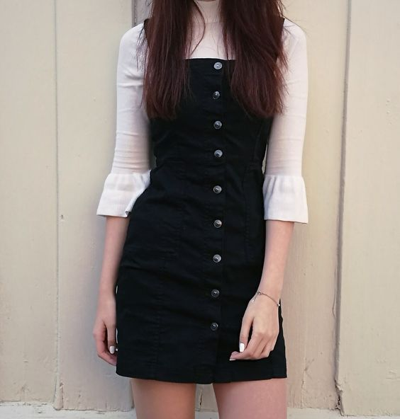 Black overalls button down dress pinafore