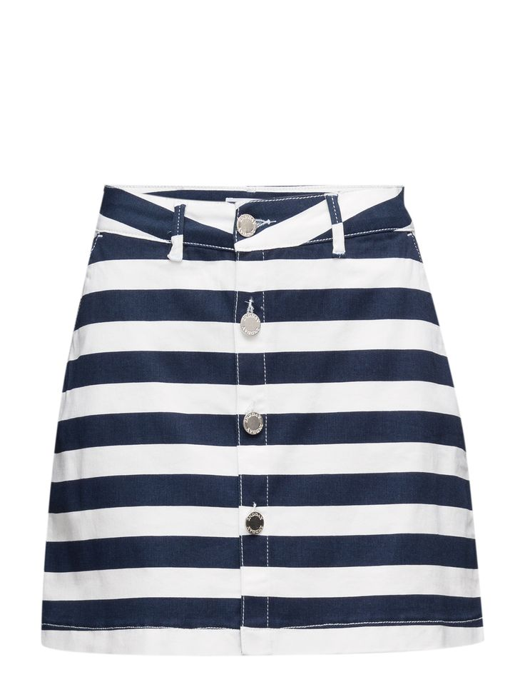 DAY - 2ND Femi Stripe Front button closure Slight stretch Striped Subtle A-line cut Classic Excellent quality and fit Simple Skirt Striped