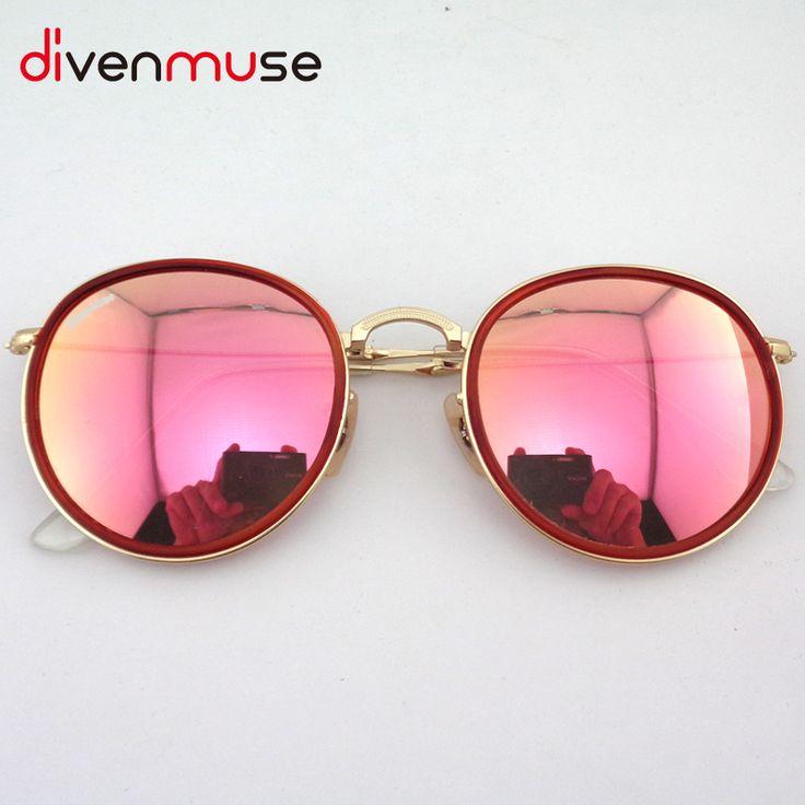 Round Folding Fishing Sunglasses New Fashion Vintage Mirror Metal Frame Women Retro Sun Glasses Lunettes De Soleil De Marque