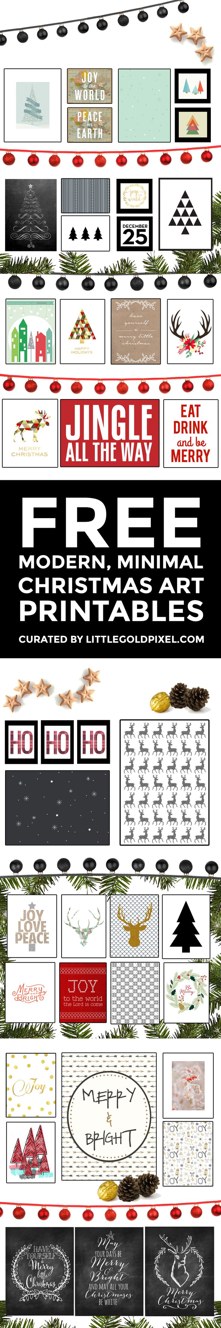 In which I round up 35+ stylish, modern and fun free Christmas printables to frame, an easy way to spiffy up your holiday decor.