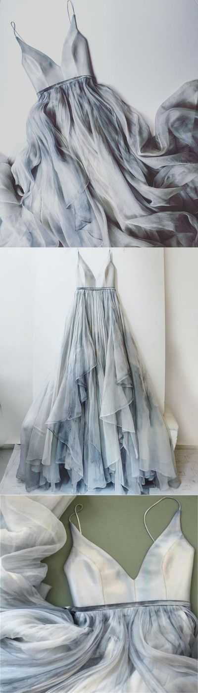 Gorgeous Prom Dress,Long Spaghetti Straps Simple V Neck Tulle cheap Pretty Party Prom Dresses