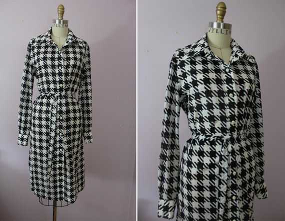 1960s Houndstooth Shirt Dress / 60s Saks Fifth by livinvintageshop