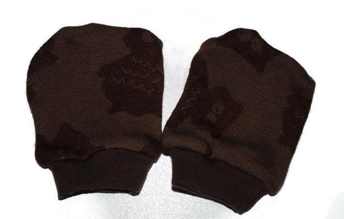 Brown bamboo owl no scratch mittens, newborn, soft and comfortable, scratch mittens by leonorafi on Etsy