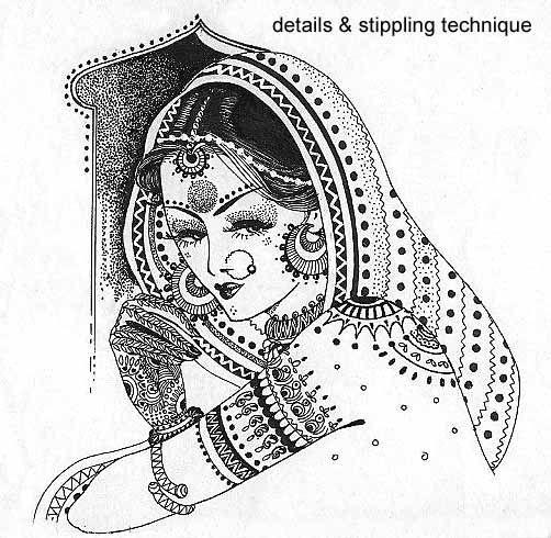 India bride- in Pen & Ink