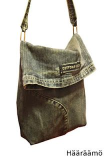 Fold top recycled jeans bag-not a tutorial, but easy enough to figure out.    :o)