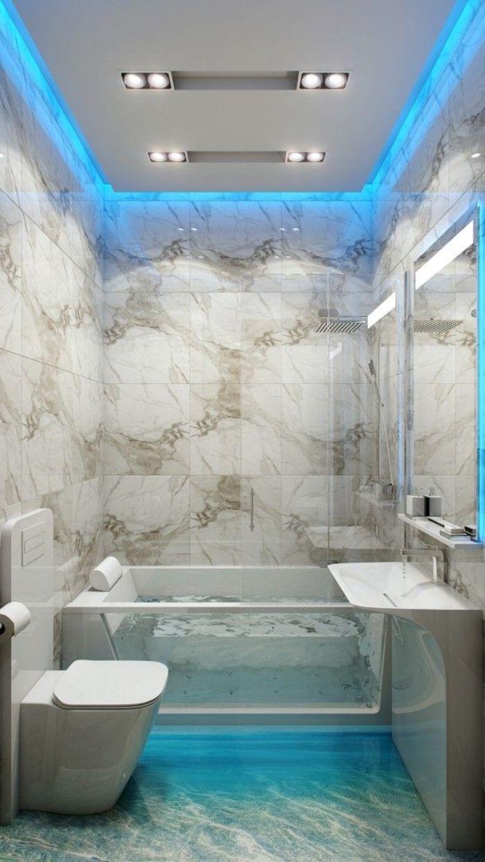 dalle plafond suspendu dans la salle de bains, baignoire en verre, baignoire transparente