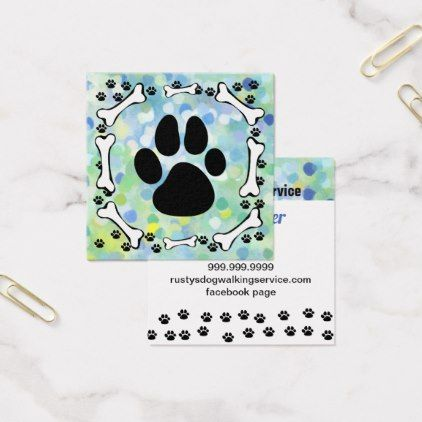 Cute Dog Paws and Bones Pet Service Watercolor Square Business Card - watercolor gifts style unique ideas diy