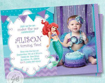 Items similar to Little Mermaid Invitation, Little Mermaid invite, Ariel invitation, Ariel Invite, Photo invitation, Birthday invitation, Princess Ariel (4) on Etsy