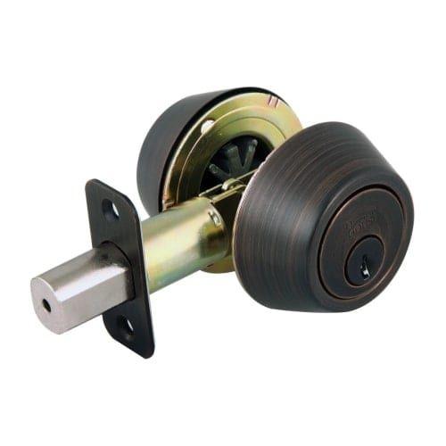 Design House 702613 Double Cylinder Keyed Entry Deadbolt with Radius Corner Latc, Grey metal