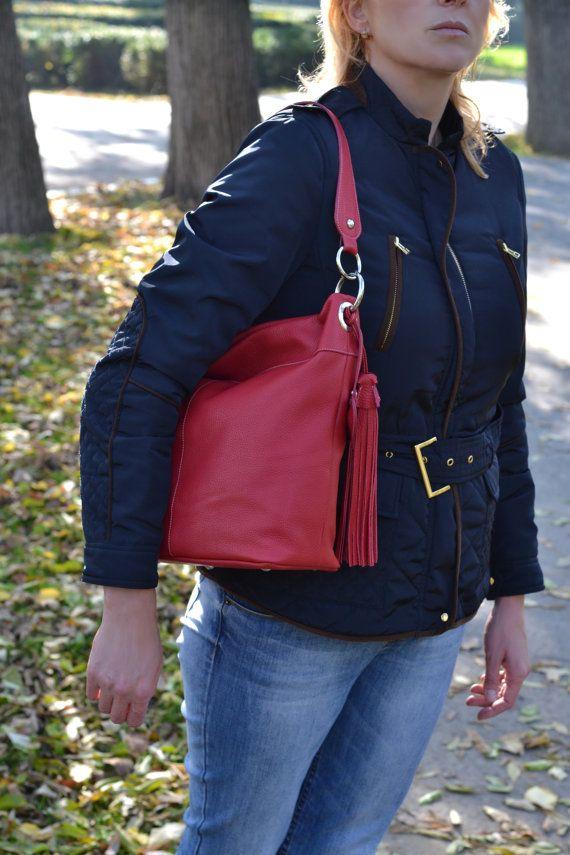 RED LEATHER  Handbag,Leather Hobo Bag, Leather shopping bag , Leather bag , Soft pebbled Leather Handbag, Shoulder leather bag