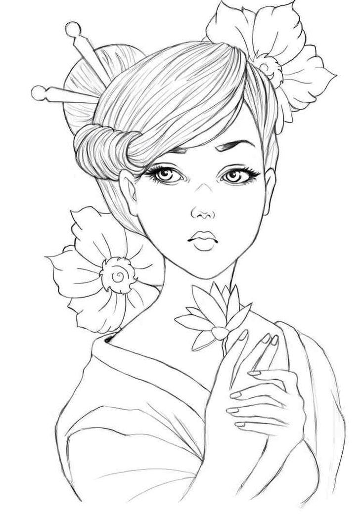 girl people coloring pages | Geisha colouring page | Dibujos para colorear adultos ...