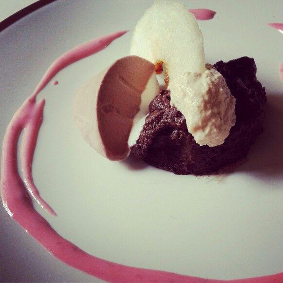"Sunday's Dessert : ""Chocolate Mousse with Peanut & Yogurt Sauce"" by my lovely fiancé. Happy Tummy!"