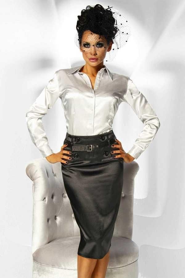 White Satin Blouse and Black Satin Pencil Skirt | Heck Yes ...
