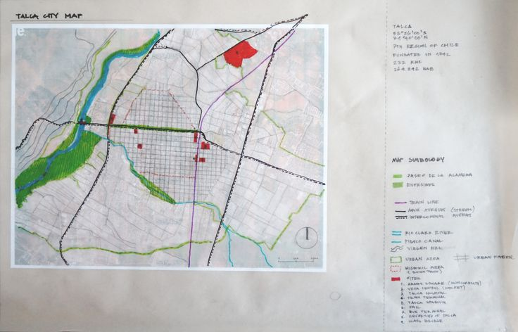 Week 01. Hi everyone!  I'm Diego Moya and I'm an architect. I live and work in Santiago de Chile. However I decided to chose the City where I grew up: Talca. This is a representation of the city urban área (traced map). I give some information according to the scale of the map.