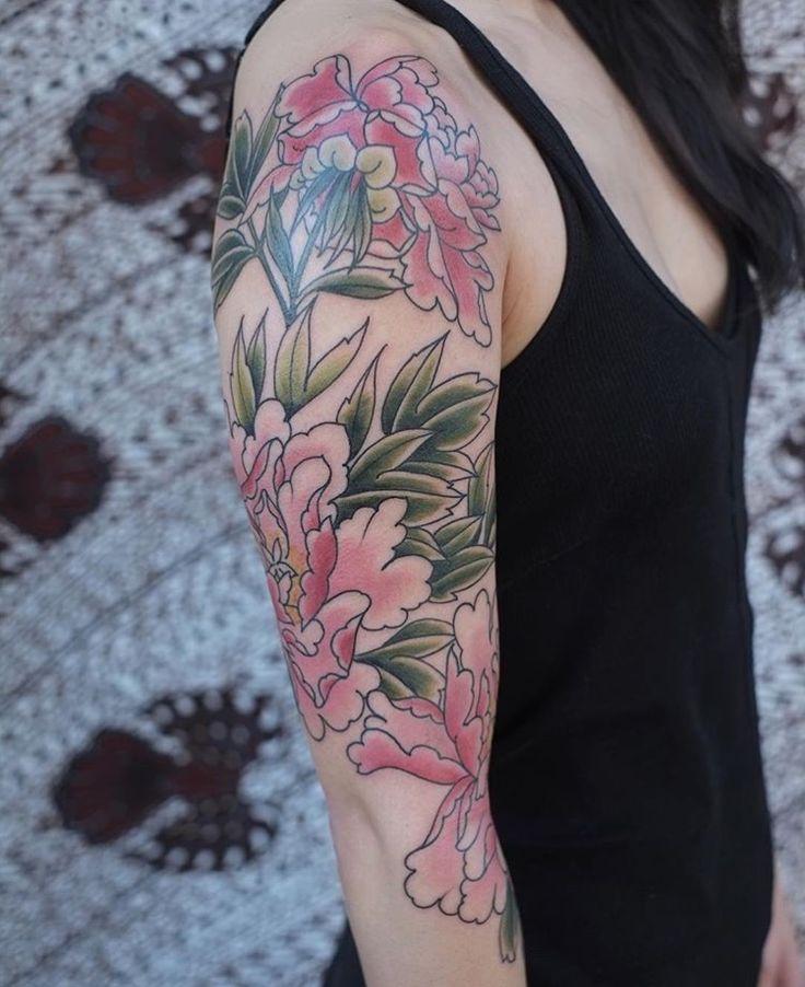 Victor J Webster - Coloured Peonies - East River Tattoo Brooklyn